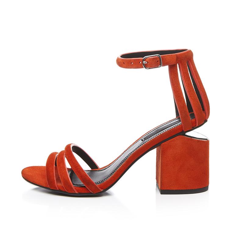 Arden Furtado 2018 summer genuine leather buckle strap fashion cover heels sandals chunky heels 8cm orange shoes woman ladies wholesale price sale online 9Q6v7sm