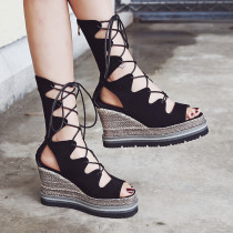 Arden Furtado summer fashion women's shoes cross tied personality sandals sexy elegant wedges shoes 32 33