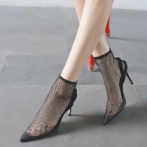 2018 summer high heels stilettos summer boots sexy mesh black evening party shoes ladies