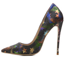 2018 autumn high heels 12cm pointed toe pumps stilettos heels party shoes star print woman shoes
