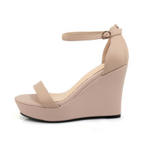 summer high Heels ankle strap genuine leather Platform Wedge Sandals small size 33 size 40
