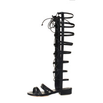 summer fashion gladiator sandals ankle strappy gold black woman cross tied shoes ladies
