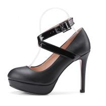 2018 spring autumn buckle strap round toe platform pumps burgundy party shoes