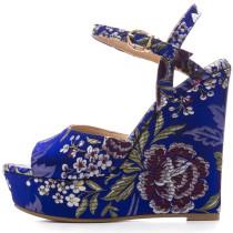 2018 summer chunky heels platform fashion ladies back zipper sandals star print sexy high heels 14cm party shoes