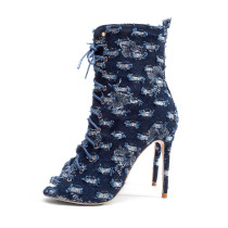 2018 summer autumn peep toe jeans blue denim ankle boots strappy cross tied fashion shoes