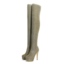autumn over the knee long boots platform woman elastic fabric thigh boots brand shoes round toe slip on green bling bling stretch boots