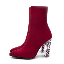 Autumn zipper burgundy chunky heels ankle boots rhinestone heels woman shoes big size 43