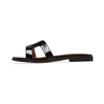 2018 summer flat H slippers genuine leather fashion slides big size ladies slides home flip-flops