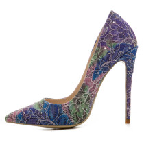 2018 stilettos pointed toe fashion ladies sexy high heels 12cm flowers print pumps party shoes
