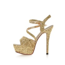 2018 summer high heels stilettos sandals peep toe platform gold silver wedding shoes small size shoes 32 33
