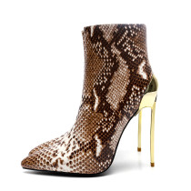 spring autumn zipper ankle boots stilettos high heels 12cm leopard print ankle boots large size