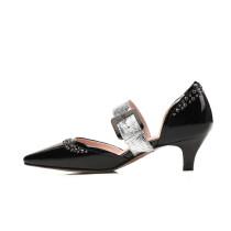 2018 spring summer stilettos med heels genuine leather big size small size pumps green white sandals