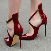 2018 summer high heels stilettos burgundy white nude sandals shoes for woman cage pumps party shoes big size