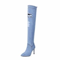 blue black jeans over the knee boots stilettos high heels 9cm fashion shoes woman