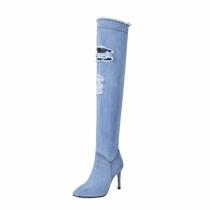 blue black jeans over the knee boots stilettos high heels 9cm fashion shoes woman