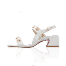 2018 chunky heels 5cm fashion genuine leather skull sandals white shoes ladies big size small size woman