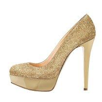 platform pumps stilettos high heels 14cm gold wedding shoes woman sequins glitter party shoes