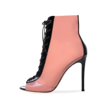 2018 summer pvc peep toe sexy ankle boots ladies big size boots shoes for woman cross tied