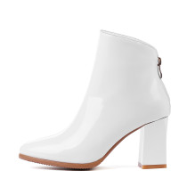 spring autumn winter ankle boots chunky heels larger size big size white booties small size 31 32