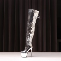 winter slip on high heels 16cm night club sexy stilettos round toe platform evening party shoes plicate over the knee boots pleated silver boots woman