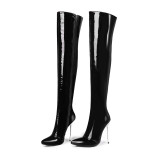 over the knee high boots leather red black cusomize the shaft size high heels 12cm stilettos big size woman shoes