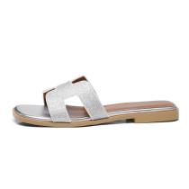 Arden Furtado summer 2019 fashion women's shoes concise white slippers rivets genuine leather silver slides open toe slippers 33