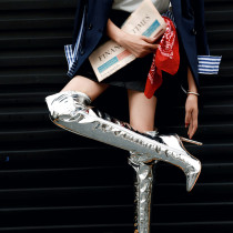 stilettos boots over the knee silver boots high heels 12cm zipper fashion shoes woman big size small size 30-33