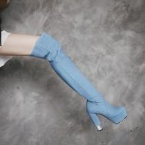 2018 autumn winter blue denim jeans chunky heels woman platform big size 42 round toe zipper