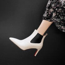 2018 autumn winter genuine leather beige stilettos grey boots pointed toe ankle boots slip on size 33