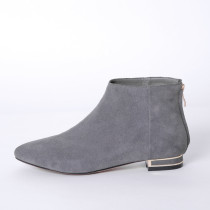 Women's Shoes Nubuck leather Spring & autumn flat BootsPointed  grey ankle Boots