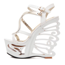 Summer platform wedges sandals shoes for woman high heels 15cm white black evening night club sexy party shoes