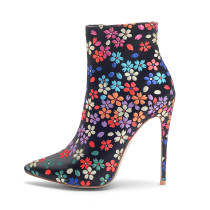 autumn winter flowers cloth stilettos pointed toe ankle boots big size 40-43 small size 33 high heels 12cm