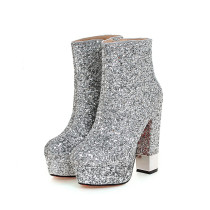 2018 autumn winter round toe glitter bling bling zipper ankle boots chunky heels 12cm