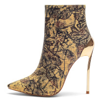 pointed toe stilettos yellow print flowers burgundy shoes woman ladies party club shoes ankle boots big size 40-43