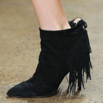 2018 autumn winter zipper fashion black suede brown ankle boots Fringes pointed toe big size boots