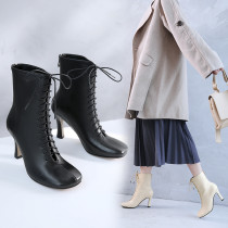 Women's Shoes genuine  leather Spring  and fall  ankle boots square  Toe