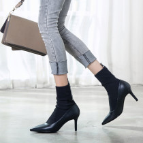 2018 spring autumn slip on genuine leather white ankle boots stilettos sock boots Stretch boots pointed toe