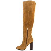 2018 autumn winter genuine leather chunky heels brown fashion over the knee boots high heels 7cm big size 40-45