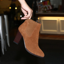 spring autumn genuine leather brown green suede slip on chunky heels ankle boots high heels 9cm shoes size 33 40
