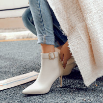 spring autumn genuine leather natural cow leather white high heels 9cm buckle ankle boots stilettos grey sexy pointed toe size 33