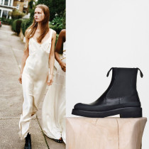autumn winter wedges shoes flat platform genuine leather round toe ankle boots shoes for woman large size