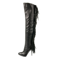 2018 winter over the knee boots stilettos pointed toe big size 42 Fringes sexy party shoes ladies woman