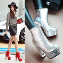 2018 autumn winter platform round toe gold silver red white ankle boots chunky heels 13cm gold silver boots