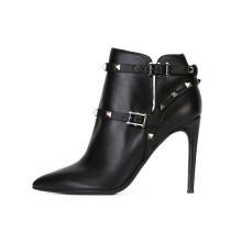 Arden Furtado 2018 spring autumn ankle boots shoes woman sexy fashion rivets zipper stilettos high heels 11cm