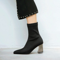 Stretch boots ankle boots shoes for woman ladies big size shoes chunky heels glitter socks boots