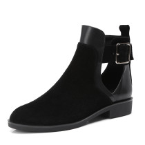 genuine leather casual ankle boots pointed toe fretwork flat boots buckle strap fashion shoes