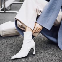 2018 autumn winter genuine leather stiletos heels white fashion ankle boots high heels 9cm big size 40