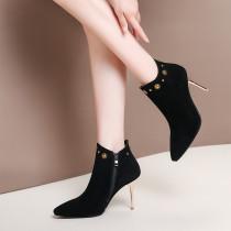 2018 spring autumn genuine suede zipper ankle boots stilettos high heels 9cm ladies big size small size shoes