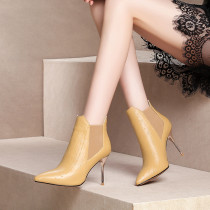 fashion winter high heels 9cm sexy winter boots for woman ladies genuine leather yellow ankle boots short plush stilettos shoes