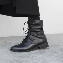 genuine leather ankle boots flat boots grey black shoes for woman ladies plicated matin chelsea boots